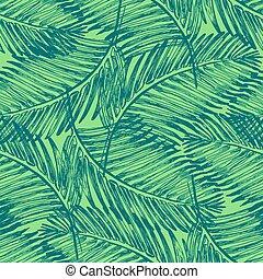 Palm leaves illustration. Tropical jungle plant.