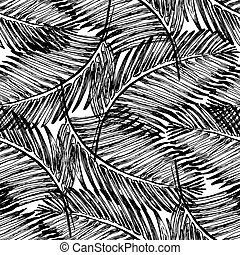 Palm leaves illustration. Tropical jungle plant.