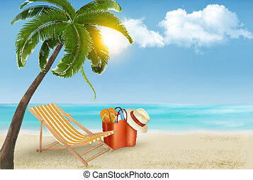 Palm leaves on beach. Vector illustration.