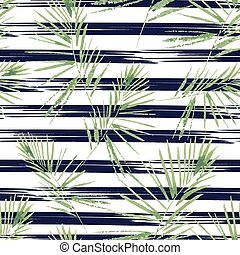 Palm leaves pattern. Seamless, hand painted, watercolor pattern. Vector background.