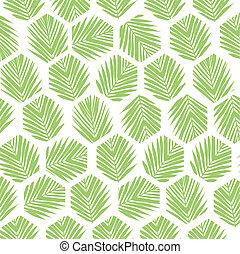 Palm leaves polygon pattern background. Flat style.