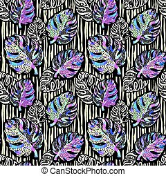 Palm leaves summer funky seamless pattern.