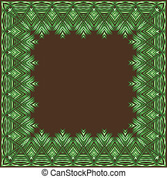 Palm leaves. Vector frame. - tropical plants vector drawing...