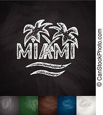 palm Miami icon. Hand drawn vector illustration