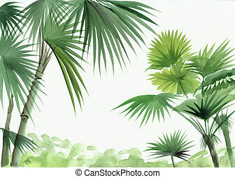 Palm oasis - Jungle view with palms. Original watercolor...