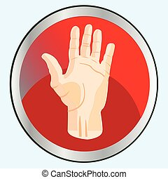Palm of the person on button