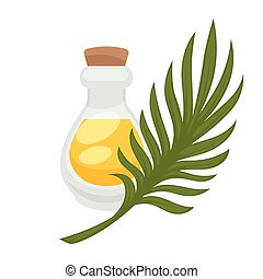 Palm oil in bottle. Vector flat isolated icon