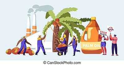 Palm Oil Producing Industry Concept with Workers Collecting Fruits, Processing Factory with Pipes Emitting Smoke, Pollutant Gas Emission, Protesters with Stop Banners. Cartoon Flat Vector Illustration