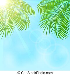 Palm on sky background