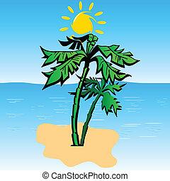 palm on the island art vector illustration