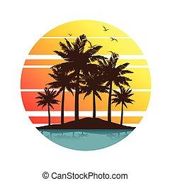 palm, ondergaande zon , bomen