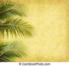 palm, papper, gammal, bakgrund, blad