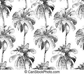 palm, pattern., exotisk, vattenfärg, seamless, mönster
