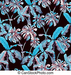 Palm pattern. Watercolor banana tree seamless print. Summer...