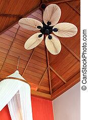 palm, plafond, lemmet, ventilator, blad-gemodelleerd