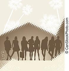 palm, silhouette, jonge, achtergrondmensen