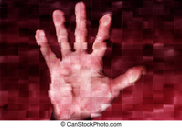 palm - abstract scene with human hand