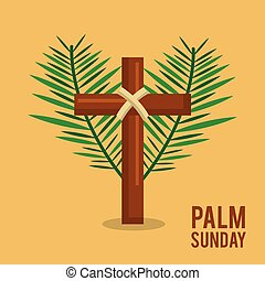 palm sunday branches text with cross easter celebration
