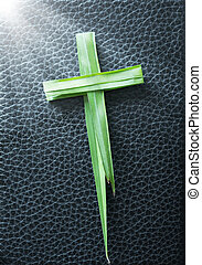 Palm Sunday concept: Cross of palm on Bible