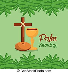 palm sunday cross bread branch border green background