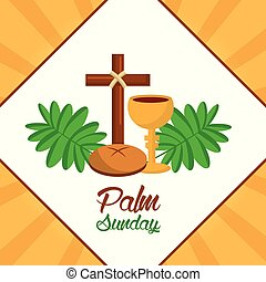 palm sunday cross bread cup frond poster