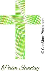 Palm Sunday cross isolated on white background. Vector...