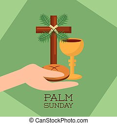 palm sunday hand holding bread cup jesus christ green background