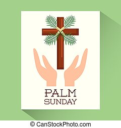 palm sunday hands with cross religious poster