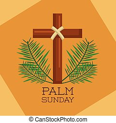 palm sunday sacred cross branches decoration