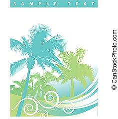 palm trä, bakgrund, våg
