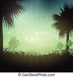 palm trä, landskap