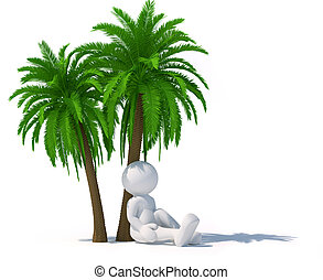 Palm-tree - 3d people - human character sitting under a palm...