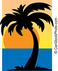 Palm Tree - A single palm tree silhouetted against asunset...