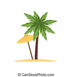 Palm tree and beach umbrella vector Illustration