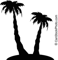 palm tree and island silhouette stylized