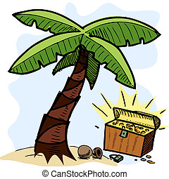 Palm tree and pirate chest on the seashore