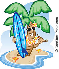 Vector Illustration of a cartoon palm tree and surfboard.