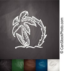 palm tree and two surfboards icon. Hand drawn vector illustration. Chalkboard Design