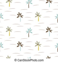 Palm tree beach seamless vector pattern texture.