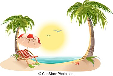Beach chaise longue under palm tree. Beach umbrella. Summer vacation in tropics. Cartoon vector illustration