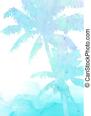 Palm Tree Beach Watercolor