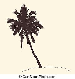 Palm Tree Bounty Vintage Engraving Vector Sketch - Palm tree...