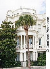 Palm Tree by Three Story Veranda - A white traditional ...