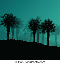 Palm tree desert oasis forest silhouettes wild nature landscape background illustration vector for poster