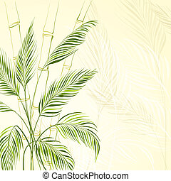 Palm tree over bamboo forest.  Illustration.