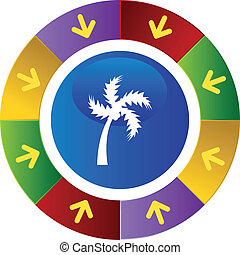 Palm Tree - Palm tree icon button isolated on a background.