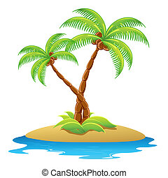 Palm Tree - illustration of palm tree in island on isolated...