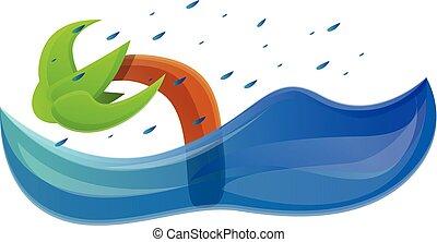 Palm tree flood icon, cartoon style