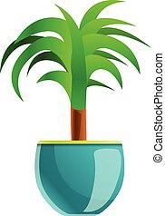 Palm tree houseplant icon, cartoon style