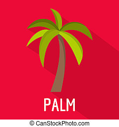 Palm tree icon, flat style